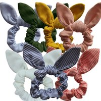 arco de tecido floral venda por atacado-Menina Orelha Faixa de Cabelo Bonito Flor Impresso Orelhas de Coelho Menina Anel Mulheres Plaid Hairband Crianças Tecido De Algodão Arco Cabeça Envoltório GGA2280