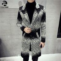 casacos jovens para homens venda por atacado-FOLOBE 2019 Primavera Trench Coat Mens Longo Impresso Silm Masculino Vestuário Turn Down Collar Young Men Casacos Veste Longue Homme