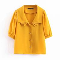 blusa de gasa amarilla de las mujeres al por mayor-ZXQJ blusa de mujer 2019 moda de verano camisas amarillas clásicas hebilla de perlas medias mangas para mujer gasa blusa de color sólido niñas