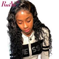 insan derin kıvırcık dantel peruklar toptan satış-Ruiyu Derin Dalga 360 Dantel Ön İnsan Saç Peruk Siyah Kadınlar Için Kıvırcık Dantel Ön Peruk Bebek Saç Ile Brezilyalı Bakire Saç