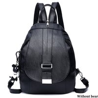 рюкзаки пряжки оптовых-Women Backpack Solid Bag Shopping School Style Shoulder Bag Hangbag Detachable Buckle Casual Travel Adjustable Strap PU 2 Colors