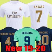 echte uniform großhandel-2019 2020 Real Madrid Fußballtrikot HAZARD Heimtrikot für Erwachsene ASENSIO ISCO MARCELO Madrid 19 20 Kinder Trikot Fußballuniformen