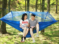 Wholesale camp hammock resale online - Parachute Hammock Outdoor Mosquito Net Hammocks Persons Hanging Bed Camping Hunting Hamac Garden Swings Colors OptionalLQPYW1008