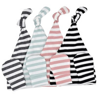 Wholesale baby boy summer caps resale online - Newborns cotton Hat and Anti Grasping Gloves sets colors for boys girls m Striped Baby hospital hat mitten set No scratch cover mittens