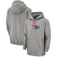 xxl navy hoodie großhandel-2019 Neue Männer New England Sweatshirt Patriots Salute zu Service Sideline Therma Leistung Rot Grau Navy Pullover Hoodie