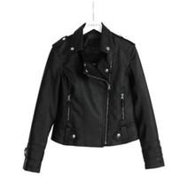 chaqueta de moda delgada al por mayor-2019 nuevo diseñador de moda elaborado artesanalmente tendencia de moda para mujer vestido de calle delgado negro cuello redondo PU top chaqueta