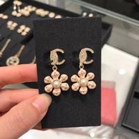 ingrosso l'orecchino ciondola rosa-Orecchini pendenti orecchino fiore rosa e bianco Orecchini a forma di orecchini orecchino con perno