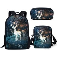 Wholesale kawaii pink pen resale online - ELVISWORDS PC Set Children School Backpack Arts Fantasy Deer School Bags Kawaii Animal Students Backpack Messenger Bag Pen Bags