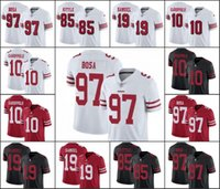 camiseta de fútbol 85 al por mayor-San Francisco49ers Hombres Jersey # 85 George Kittle 97 Nick Bosa 19 Deebo Samuel NFLFútbol jerseys Negro Rojo