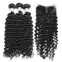 Wholesale brazillian hair natural top closure resale online - Brazilian Curly Virgin Human Hair Weaves Bundles with Top Lace Closure A Brazillian Deep Jerry Curly Remy Hair Extensions Natural Color