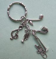 klasik müzik notası toptan satış-Vintage Gümüş Charms Nota Trompet Sax Anahtarlık İçin Tuşlar Araba Çanta Anahtarlık Çanta Çift Anahtarlıklar DIY hediyeler