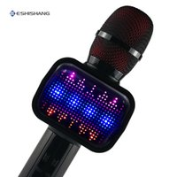 ktv home al por mayor-Micrófono de karaoke con luz de discoteca Máquina de karaoke inalámbrica Mikrofon Altavoz Bluetooth Inicio KTV Reproductor de música Micrófono de mano