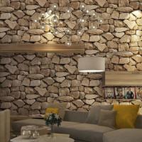 wallpaper für hotelzimmer großhandel-3D Stone Wallpaper Wandbild Marble Tapete Ziegelwand Papier papel de parede Tapete Dekor für Wohnzimmer Hoteldekoration