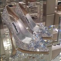 şampanya balo topuklu toptan satış-Gümüş / Şampanya / Kırmızı Moda Lüks Tasarımcı Kadın Ayakkabı Yüksek Topuklu Düğün Gelin Ayakkabıları Kristal Akşam Parti Balo Yaz ayakkabı