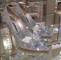 champagner prom fersen großhandel-Silber / Champagner / Rot Mode Luxus Designer Frauen Schuhe High Heels Hochzeit Brautschuhe Kristall Abendgesellschaft Prom Sommer Schuhe