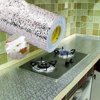 papel de parede impermeável da cozinha venda por atacado-À prova d 'água Engrossar À Prova D' Água À Prova de Poeira À Prova D 'Água À Prova de Poeira Papel De Parede À Prova de Fogo Simples Folha de Alumínio Prático Wallpapers 1 9zdD1