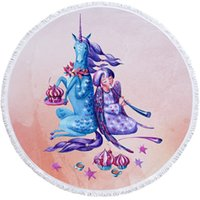 Wholesale sale printed towels resale online - Unicorn Digital Printing Beach Towel Large Round Polyester Soft Microfibra Thick Terry Cloth With Tassels Hot Sale jy C1