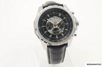 relógios antigos venda por atacado-Alta Old Qualidade Quartz -Watch For Men Dial Preto enrolamento Self-Couro Black Belt prata esqueleto Assista grátis HKpost