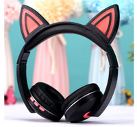 Wholesale cell phone plug types for sale - Group buy Gift Anime Cartoon Child Cat Ear LED With Light Illuminated Headset Wireless Bluetooth Headset Plug Type Bluetooth