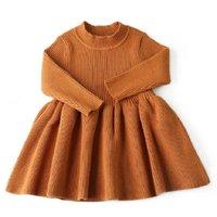 säuglingsbaby-mädchenkleider großhandel-Mode Herbst Winter Kleid Für Mädchen Wolle Strickpullover Infant Baby Mädchen Kleid Mädchen Kleider Für Party Baby Mädchen Kleidung 6 mt J190614