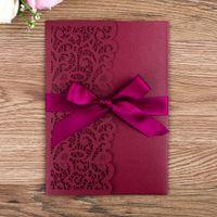 invitations ruban rouge achat en gros de-Invitation de mariage carte invitation ajourée ruban de poche, ensemble de cartes intérieure élégante invitation d'affaires rouge Jujube gros JR137