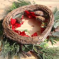 greens de natal artificiais venda por atacado-Coroa de Natal Flores artificiais Front Door Casa Decoração Hanging Frosted Winter Greens Planta artificial flores T191031