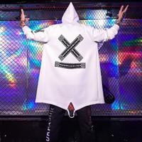 damla gemi kostümleri toptan satış-Drop Shipping Moda Marka Sonbahar Ceket Uzun Trençkot Retro Smokin Kostüm Şerit Paltolar Hip Hop Kapşonlu Trençkot