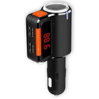transmisor más pequeño al por mayor-Mini coche FM manos libres Bluetooth Pequeño coche Kit Transmisores FM Puerto USB dual 3.1A Reproductor de MP3 Cargador de cigarrillos BC09
