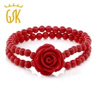 ingrosso fiori di perline di corallo-GemStoneKing 7 pollici rosso simulato Coral Bead Rose Flower Stretch Bracciale 5mm Fine Jewelry per le donne