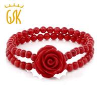 korallen armbänder frauen großhandel-GemStoneKing 7 Zoll Rot Simulierte Koralle Rose Blume Stretch-Armband 5mm Edlen Schmuck Für Frauen
