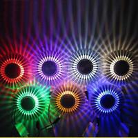 Wholesale sun glasses led lights for sale - Group buy 3W Sun Flower Led Wall Lamp Indoor Living Room KTV Spiral Light Blulbs