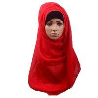 bufandas de jersey liso al por mayor-Bufanda islámica musulmán Hijab Mujeres Hijab musulmán Jersey Hijabs Color sólido Chiffon Shawls Bufandas simples