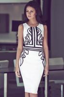 ingrosso modello per abito da sera nero-Brand Design Lady Fashion Summer Casual Dress White Blend Black Pattern Slim Hip Knee Length Abiti da sera