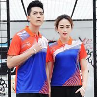 juego de golf de mesa al por mayor-Breve camisa seca y transpirable bádminton, deporte Mujer / Hombre Mesa de ping pong camisa del equipo de juego de deportes Campo de voleibol camisetas del tenis