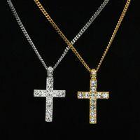 collar de cuerda de piedra azul al por mayor-Joyería clásica de Hip Hop Iced Out Gold / Silver Color Cadenas cubanas Rhinestone Cruz colgantes collar para hombre envío gratis