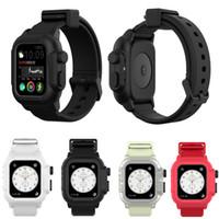 relógios sem bandas à venda venda por atacado-Compatível com a Apple assista series4 40mm / 44mm / series3 42 milímetros tampa da caixa à prova d'água com pulseira de silicone