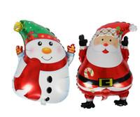 decorações ao ar livre do natal do boneco de neve venda por atacado-Eco-friendly Balões de Natal 18 '' Outdoor Navidad Decoração Papai Noel Boneco Elk Hélio Balões do partido
