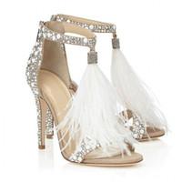 penas sapatos mulheres venda por atacado-2019 Marca de Moda de Luxo Designer de Calçados Femininos Sapatos de Casamento Para A Noiva de Luxo de Salto Alto Sandálias de Penas