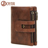Wholesale wallet hombre zipper for sale - Group buy Joyir Wallet Men Leather Genuine Vintage Coin Purse Zipper hasp Men Wallets Small Perse Solid Rfid Card Holder Carteira Hombre Y19062003
