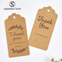 broş ambalaj toptan satış-100 Adet / grup Teşekkür Ederim Kraft Kağıt Kartları Pretty Tasarım Baskı Fower Kolye Küpe Firkete Broş El Yapımı Takı Ambalaj