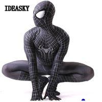 fantasia incrível de spiderman zentai venda por atacado-Guerra civil personalizado preto o espantoso zentai spiderman terno cosplay homem aranha traje adulto spandex 3d máscara do dia das bruxas guerra civil homem-aranha