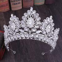 acessórios oriente médio venda por atacado-Cristais de luxo Coroa real do casamento de prata ouro Rhinestone Princesa Prom Queen nupcial Tiara Crown Cabelo Acessórios Oriente Médio