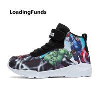 bebek avengers çizgi film toptan satış-Loadingfunds Çocuk Sneakers Erkek Basketbol Ayakkabı Koşu Ayakkabıları Avengers Bebek Çocuk Ayakkabı Spor Boot Karikatür Gamin Chaussure Y19051504