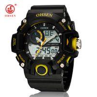 ohsen relógio amarelo venda por atacado-Nova 2016 OHSEN Digital Quartz Mens Moda relógio de pulso 30M Mergulho borracha Banda Meninos Masculino exterior Desporto Relógios Reloj hombre