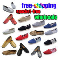 Wholesale stripe pattern flat shoe online - dorp shipping new brand Women s casual solid canvas shoes EVA flat pattern stripes lovers shoes Classic canvas sneakers shoes