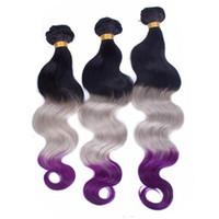 черный серый омбре переплетения оптовых-Черные корни Серый и фиолетовый Ombre Virgin Индийские человеческие волосы Weave Wefts Объемная волна # 1B / Серый / Фиолетовый 3Tone Ombre Пучки человеческих волос предложения