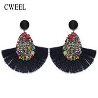 bohem gelin takı toptan satış-CWEEL Kristal Püskül Küpe Kadınlar Için Bohemian Küpe Moda Takı Düğün Saçak Gelin Bildirimi sevgililer Günü Küpe