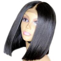 peruklar dantel peruklar toptan satış-Kısa bob düz tutkalsız brezilyalı bakire saç İsviçre dantel ön İnsan saç peruk siyah kadınlar için perruque tam dantel ön lacefront peruk