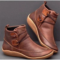 женская обувь оптовых-Женщины зимние ботинки снега кожаные Ботильоны Ботильоны Мода плоские ботинки женщина короткие коричневые сапоги с мехом 2020 для женщин зашнуровать ботинки