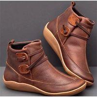 bota curta marrom venda por atacado-Mulheres do inverno botas de neve de couro tornozelo Botas Moda sapatos rasos mulher baixa Carregadores de Brown com pele 2020 para as Mulheres Lace up Botas
